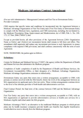 Medicare Advantage Contract Amendment