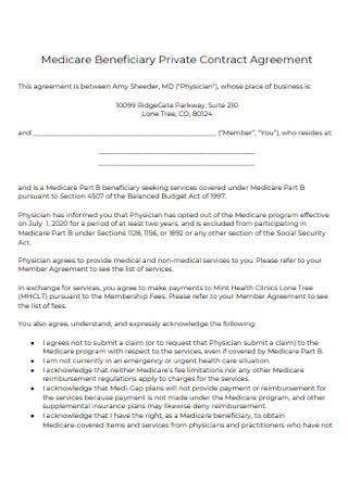 Medicare Beneficiary Private Contract Agreement