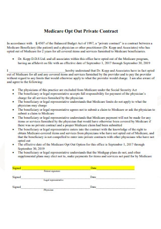 Medicare Opt Out Private Contract Format