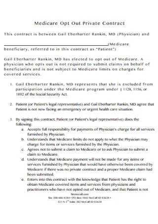 Medicare Opt Out Private Contract