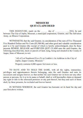 Missouri Quit Calm Deed Form