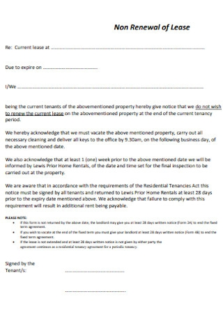 Non Renewal of Lease Form