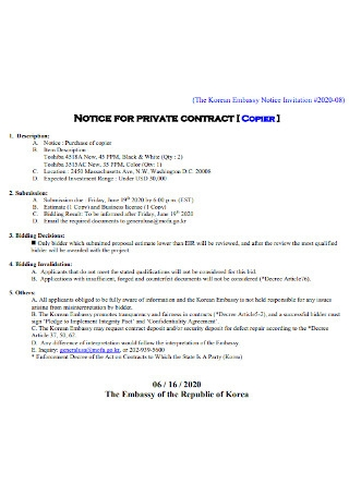 Notice for Private Contract