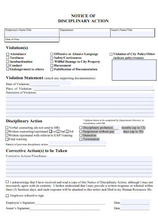 Notice of Employee Disciplinary Action Form