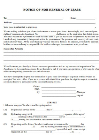 Notice of Non Renewal of Lease Form