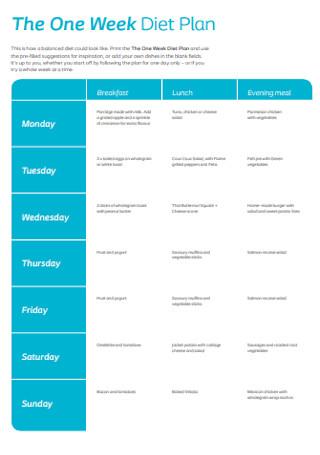 One Week Diet Plan