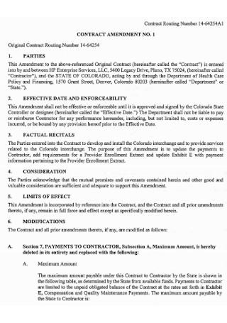 Original Contract Amendment