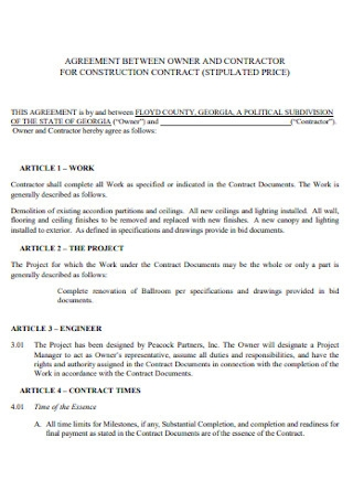 Owner and Contractor Agreement