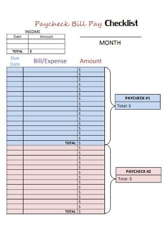 Paycheck Bill Pay Checklist