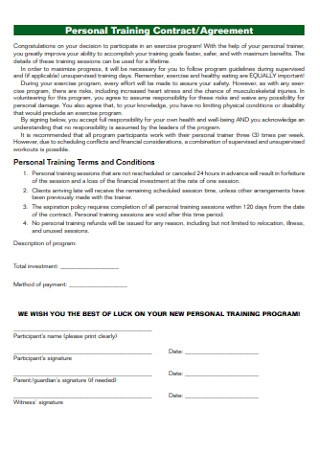 Personal Training Contract and Agreement