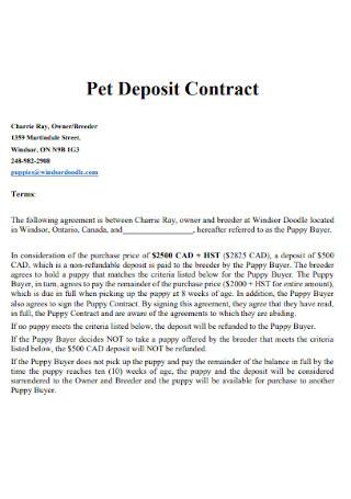 Pet Deposit Contract