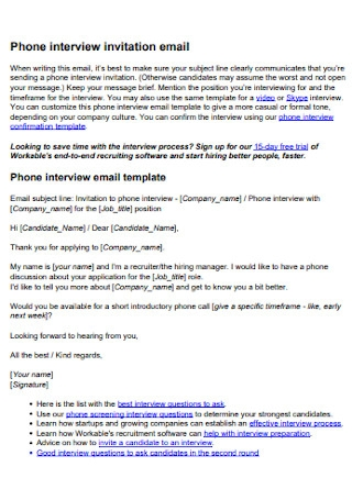 Phone Interview Invitation Email