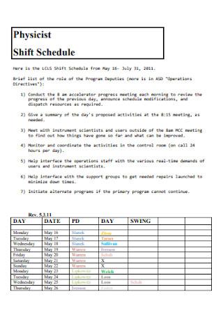 Physicist Shift Schedule