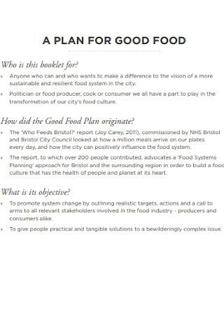Plan for Good Food