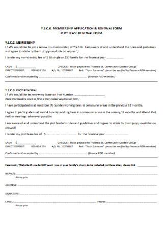 Plot Lease Renewal Form