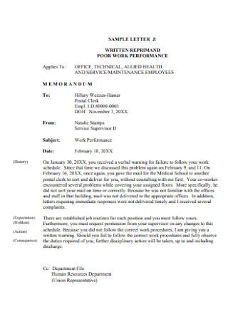 Poor Work Reprimand Letter