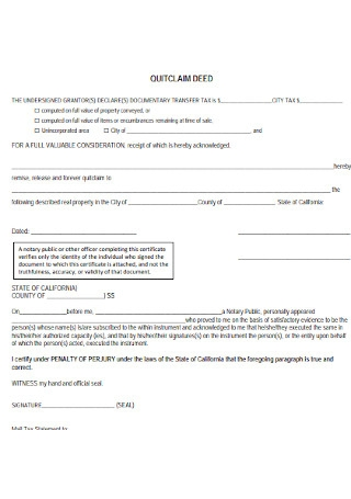 Printable Quit Calm Deed Form