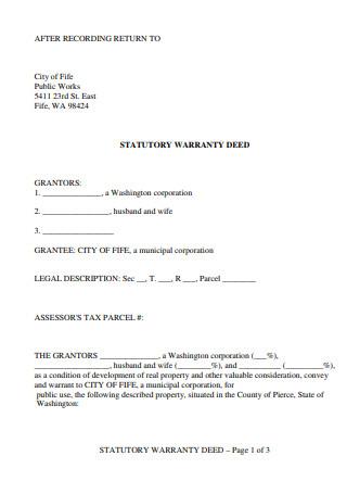 Printable Warranty Deed