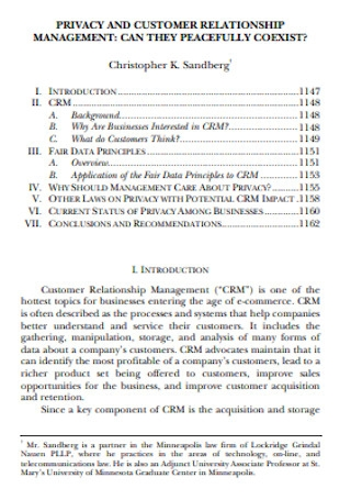 Privacy and Customer Relationship Management