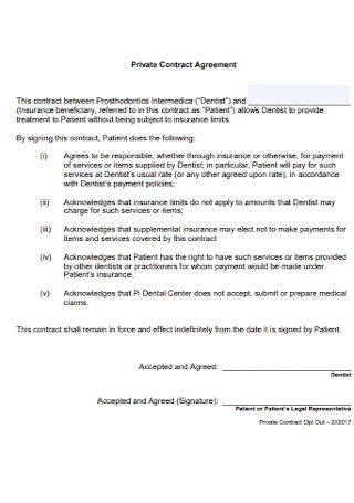 Private Contract Agreement