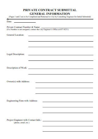 Private Contract Submiittal Form