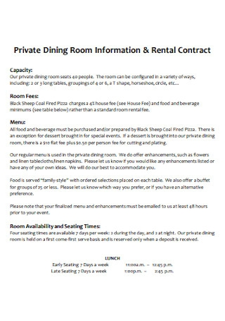 Private Dining Room Rental Contract