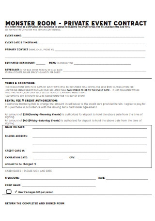 Private Event Contract Form
