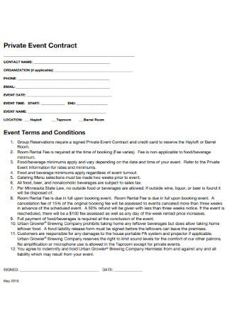 Private Event Contract