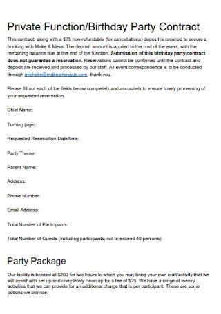 Private Function and Birthday Party Contract