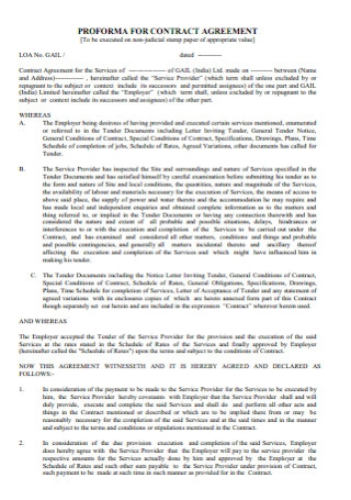 Proforma for Contract Agreement