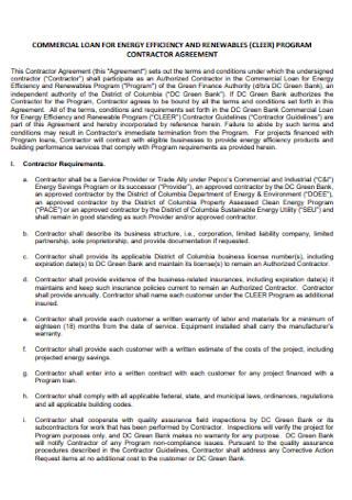Program Contractor Agreement