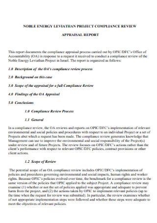 Project Complaince Appraisal Report