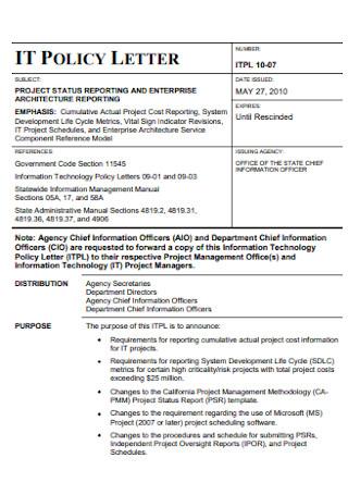 Project IT Status Report