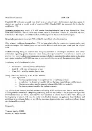 Proof Of Residency Letter Format
