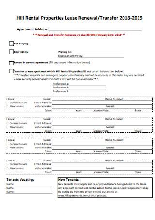 Properties Lease Renewal Form