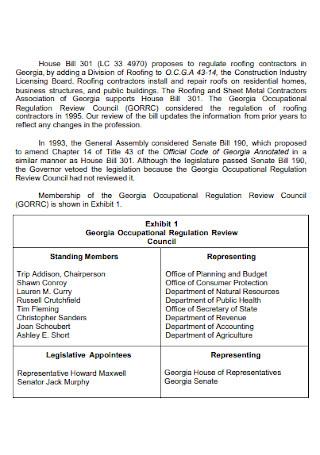 Proposal to Regulate Roofing Contractors