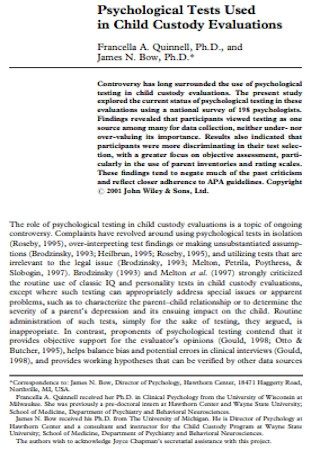 Pshycological in Custody Evaluation Report