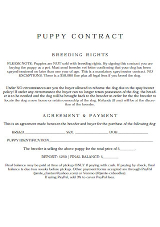 Puppy Payment Contract