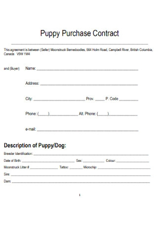 Puppy Purchase Contract Template