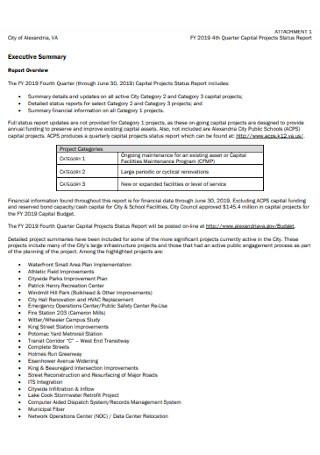 Quarter Capital Projects Status Report