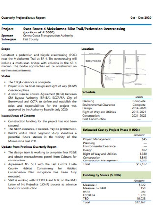 Quarterly Project Status Report
