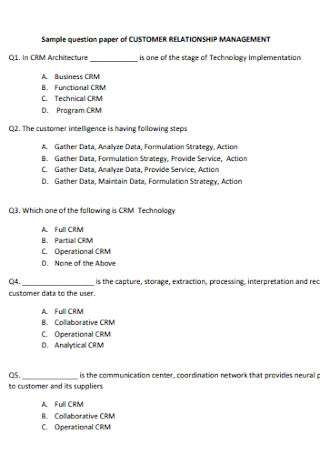 Question Paper of Customer Relationship Management