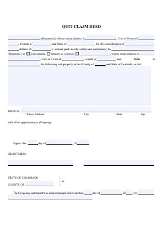 Quit Calm Deed Form Template