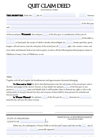Quit Calm Deed Individual Form