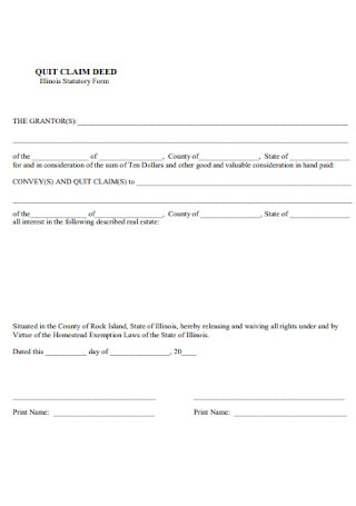 Quit Calm Deed Stamp Form