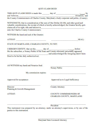 Quit Claim Deed Form Example