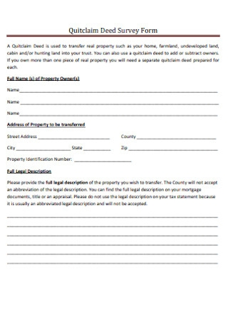 Quitclaim Deed Survey Form