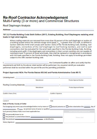Re Roof Contractor Acknowledgement Template