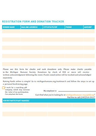 Registration and Donation Tracker Form