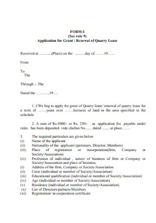 Renewal of Quarry Lease Form